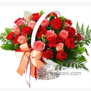 Carnation basket with Roses
