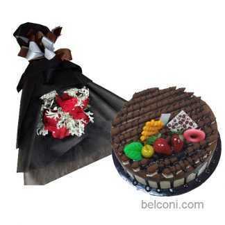 Mochacino cake  with flower